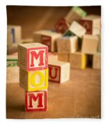 Mom Alphabet Blocks Fleece Blanket