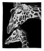 Mom And Baby Giraffe  Fleece Blanket