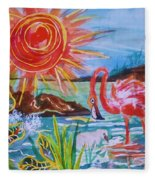 Momma And Baby Flamingo Chillin In A Blue Lagoon  Fleece Blanket