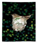 Mommy Hummingbird In The Nest Fleece Blanket