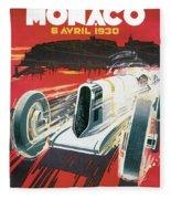 Monaco Grand Prix Vintage Poster Fleece Blanket