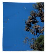 Monarch Butterflies Flying Fleece Blanket