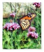 Monarch Butterfly On Pink Lantana Fleece Blanket