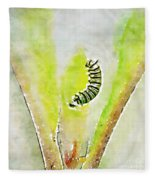Monarch Caterpillar - Digital Watercolor Fleece Blanket