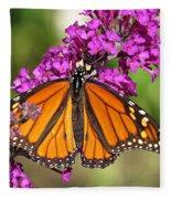 Monarch Hangs On To Buddleia Fleece Blanket