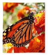 Monarch On Marigold Fleece Blanket