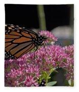 Monarch On Sedum Fleece Blanket