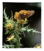 Monarch On Thistle Fleece Blanket