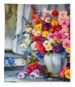 Monet Floral Edged Fleece Blanket