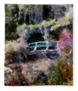 Monet's Bridge In Autumn Fleece Blanket