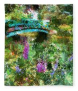 Monet's Bridge In Spring Fleece Blanket