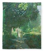 Monets Garden Oil On Board Fleece Blanket
