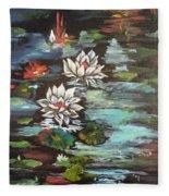 Monet's Pond With Lotus 1 Fleece Blanket