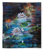 Monet's Pond With Lotus 11 Fleece Blanket
