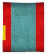 Mongolia Flag Vintage Distressed Finish Fleece Blanket