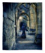 Monk In A Dark Corridor Fleece Blanket