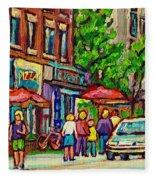 Monkland Tavern Corner Old Orchard Montreal Street Scene Painting Fleece Blanket