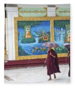 Monks In Rain At Shwedagon Paya Temple Yangon Myanmar Fleece Blanket