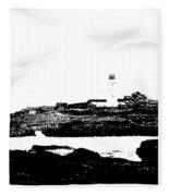 Monochromatic Godrevy Island And Lighthouse Fleece Blanket