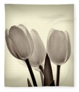 Monochrome Tulips With Vignette Fleece Blanket
