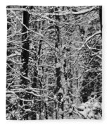 Monochrome Winter Wilderness Fleece Blanket