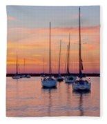 Monroe Harbor Sunrise Fleece Blanket