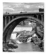 Monroe St Bridge Of Spokane Fleece Blanket