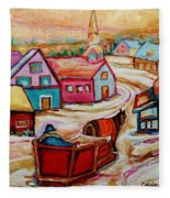 Mont St.hilaire Going Towards The Village Quebec Winter Landscape Paintings Carole Spandau Fleece Blanket
