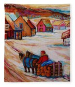 Mont St.hilaire Winter Scene Logger Heading Home To Quebec Village Winter Landscape Carole Spandau Fleece Blanket