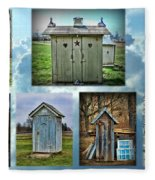 Montage Of Outhouses Fleece Blanket