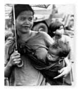 Montagnard Woman With Umbrella And Child Fleece Blanket