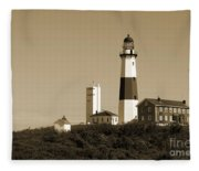 Montauk Point Light In Sepia Fleece Blanket