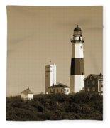 Montauk Point Light In Sepia Fleece Blanket