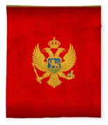 Montenegro Flag Vintage Distressed Finish Fleece Blanket