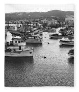 Monterey Harbor Full Of Purse-seiner Fishing Boats California 1945 Fleece Blanket