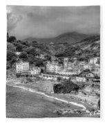 Monterosso Al Mare - Cinque Terre In Grey Fleece Blanket