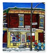 Montreal Art Hockey Paintings Chez Bert Depanneur The Pointe Verdun City Scene Carole Spandau  Fleece Blanket