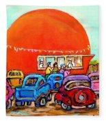 Montreal Art Orange Julep Paintings Montreal Summer City Scenes Carole Spandau Fleece Blanket