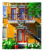 Montreal Art Seeing Red Verdun Wooden Doors And Fire Hydrant Triplex City Scene Carole Spandau Fleece Blanket