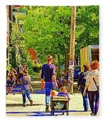 Montreal Art Summer Cafe Scene Rue Laurier Family Day Wagon Ride City Scene Art By Carole Spandau Fleece Blanket