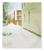 Montreal Art Urban Winter City Scene Painting Verdun Laneway After  Heavy December Snowfall Fleece Blanket