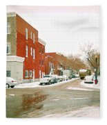 Montreal Art Winter Street Scene Painting The Point Psc Rowhouses In January Snow Cspandau Fleece Blanket