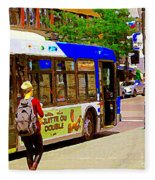 Montreal Bus Scenes Catching The 97 Bus Pontiac Corner Mont Royal Urban Montreal Art Carole Spandau Fleece Blanket