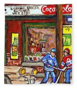 Montreal Hockey Paintings At The Corner Depanneur - Piche's Grocery Goosevillage Psc Griffintown  Fleece Blanket