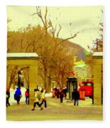 Montreal Memories Mcgill Students On Campus Roddick Gates Montreal Collectible Art Prints C Spandau Fleece Blanket