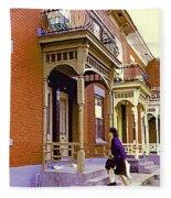 Montreal Memories Pretty Plateau Porches Lady Climbs Front Steps By Bricks Balconies Home Cspandau   Fleece Blanket