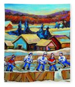 Montreal Memories Rink Hockey In The Country Hockey Our National Pastime Carole Spandau Paintings Fleece Blanket