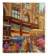 Montreal Memories-streetcars-morgan's Department Store At St.catherine And Union Fleece Blanket