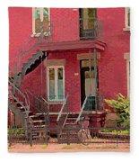 Montreal Memories The Old Neighborhood Timeless Triplex With Spiral Staircase City Scene C Spandau  Fleece Blanket