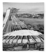 Montreal Olympic Stadium And Olympic Park-home To Biodome And Velodrome-montreal In Black And White Fleece Blanket